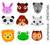 cute animal faces  isolated on... | Shutterstock .eps vector #298307681