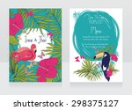 wedding invitations in tropical ... | Shutterstock .eps vector #298375127