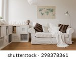 white sofa and commode in cozy... | Shutterstock . vector #298378361