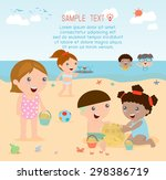 kids on the beach   children... | Shutterstock .eps vector #298386719