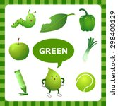 learn the color green   things... | Shutterstock .eps vector #298400129