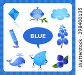 learn the color blue   things... | Shutterstock .eps vector #298400135