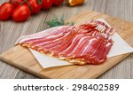 fresh cold sliced bacon with... | Shutterstock . vector #298402589