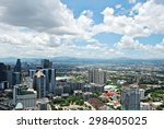 sunny aerial city view panorama | Shutterstock . vector #298405025