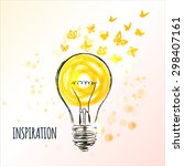 light bulb sketch with flying... | Shutterstock .eps vector #298407161