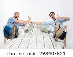 the two smiling businessmen... | Shutterstock . vector #298407821