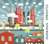 landscape   town or city with... | Shutterstock . vector #298414721