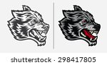 angry wolf head mascot logo | Shutterstock .eps vector #298417805