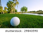 golf ball in grass near pond in florida - stock photo
