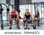 portrait of a three muscular...   Shutterstock . vector #298446371