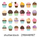 Set Of Cute Vector Cupcakes An...
