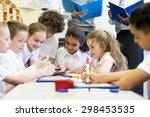 a group of school children can... | Shutterstock . vector #298453535
