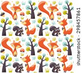 seamless pattern with foxes ... | Shutterstock .eps vector #298457861