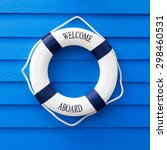 white life buoy with welcome... | Shutterstock . vector #298460531