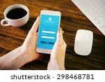 woman using smartphone against... | Shutterstock . vector #298468781
