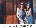 gorgeous young brunette twins... | Shutterstock . vector #298480289