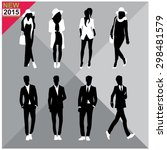 editable silhouettes set of men ... | Shutterstock .eps vector #298481579