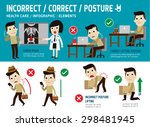 orrect and incorrect posture ... | Shutterstock .eps vector #298481945