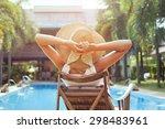 woman relaxing in luxury hotel  ... | Shutterstock . vector #298483961
