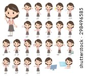 set of various poses of pink... | Shutterstock .eps vector #298496585