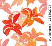 lily  seamless pattern | Shutterstock . vector #298502729