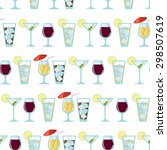 seamless pattern with cocktails | Shutterstock .eps vector #298507619