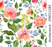 watercolor floral pattern and... | Shutterstock . vector #298511285
