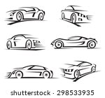 set of six black cars  | Shutterstock .eps vector #298533935