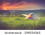 tourist tent on green meadow at ... | Shutterstock . vector #298554365
