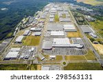 Aerial view to industrial zone and technology park on Bory suburb of Pilsen city in Czech Republic, Europe.