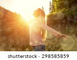 happiness woman stay outdoor... | Shutterstock . vector #298585859