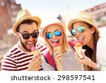 a picture of a group of friends ... | Shutterstock . vector #298597541