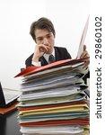 stressed clerk in office - stock photo