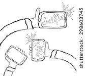 taking selfie photo on smart... | Shutterstock .eps vector #298603745