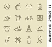 fitness icon set | Shutterstock .eps vector #298605461
