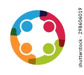 people logo. group of four in... | Shutterstock .eps vector #298606019