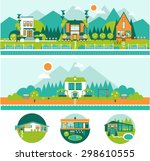 camp tiny green houses and... | Shutterstock .eps vector #298610555