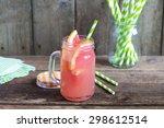 grapefruit juice in a glass jar ... | Shutterstock . vector #298612514