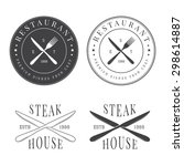 set of vintage restaurant logo  ... | Shutterstock . vector #298614887