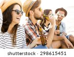friends having fun together at... | Shutterstock . vector #298615451
