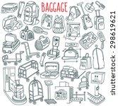 baggage themed doodle set.... | Shutterstock .eps vector #298619621