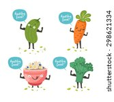 cute vegetable characters... | Shutterstock .eps vector #298621334