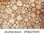 pile of wood logs as background | Shutterstock . vector #298625045