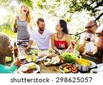 diverse people friends hanging... | Shutterstock . vector #298625057