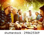 diverse yard summer friends fun ... | Shutterstock . vector #298625369
