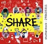 share sharing connection online ... | Shutterstock . vector #298635311