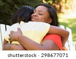 african american mother hugging ... | Shutterstock . vector #298677071