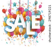 text sale with colored balloons ... | Shutterstock .eps vector #298719221