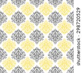 yellow  gray   white damask... | Shutterstock .eps vector #298720529