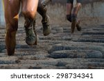 mud race runners  tries to make ... | Shutterstock . vector #298734341